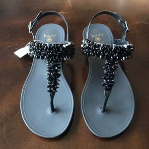 Dizzy Black Beaded Sandals